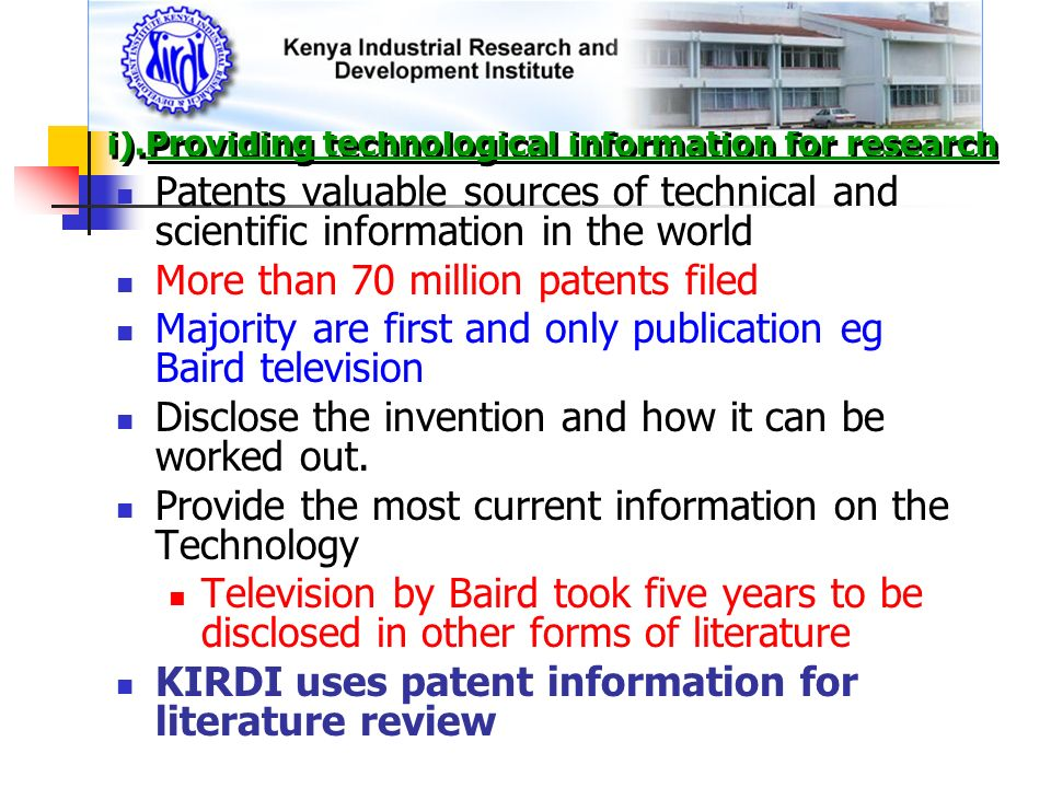 i).Providing technological information for research
