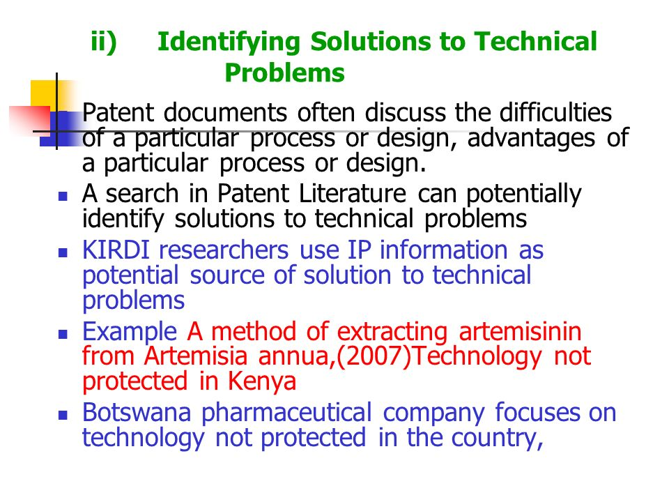 ii) Identifying Solutions to Technical Problems