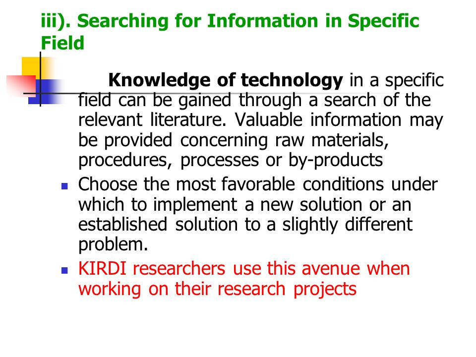 iii). Searching for Information in Specific Field