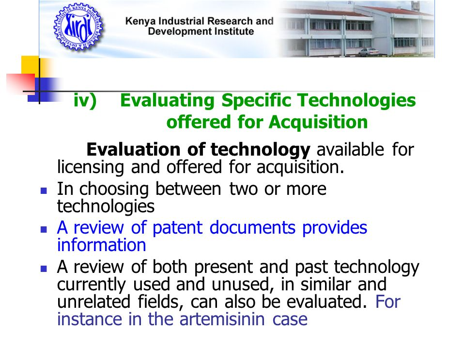 iv) Evaluating Specific Technologies offered for Acquisition