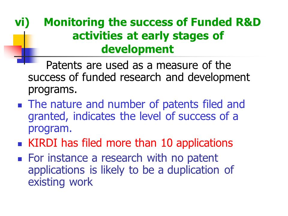 vi). Monitoring the success of Funded R&D