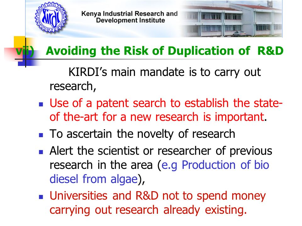 vii) Avoiding the Risk of Duplication of R&D