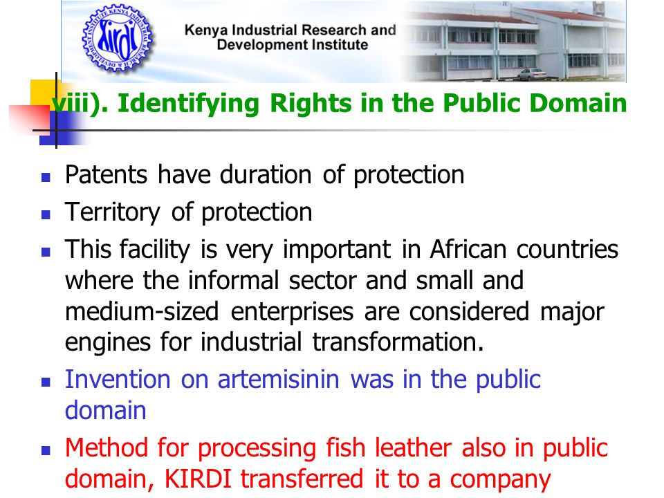 viii). Identifying Rights in the Public Domain
