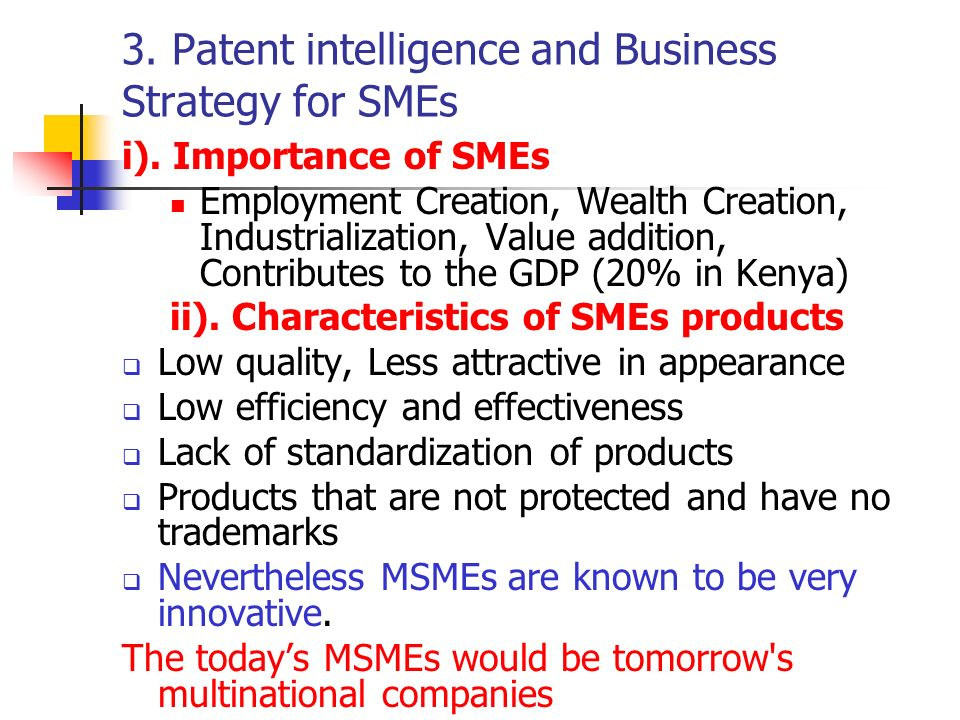 3. Patent intelligence and Business Strategy for SMEs