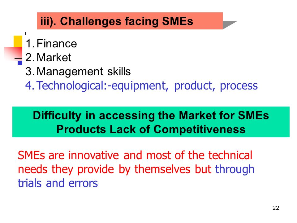 iii). Challenges facing SMEs