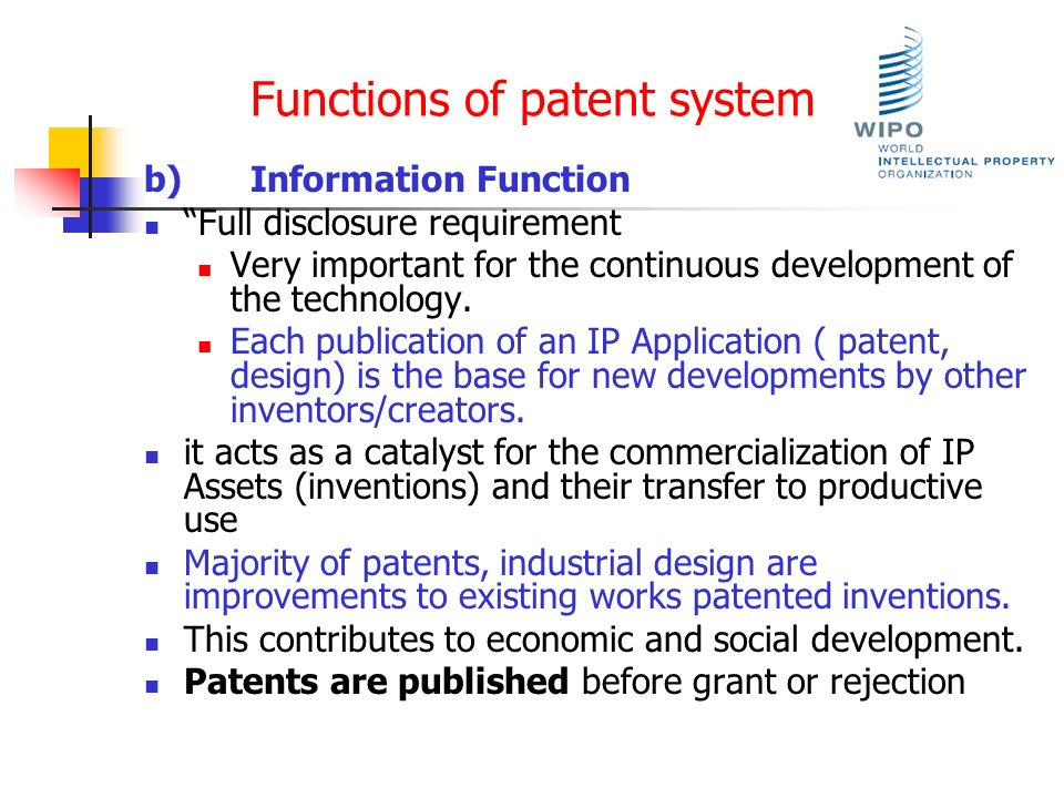 Functions of patent system