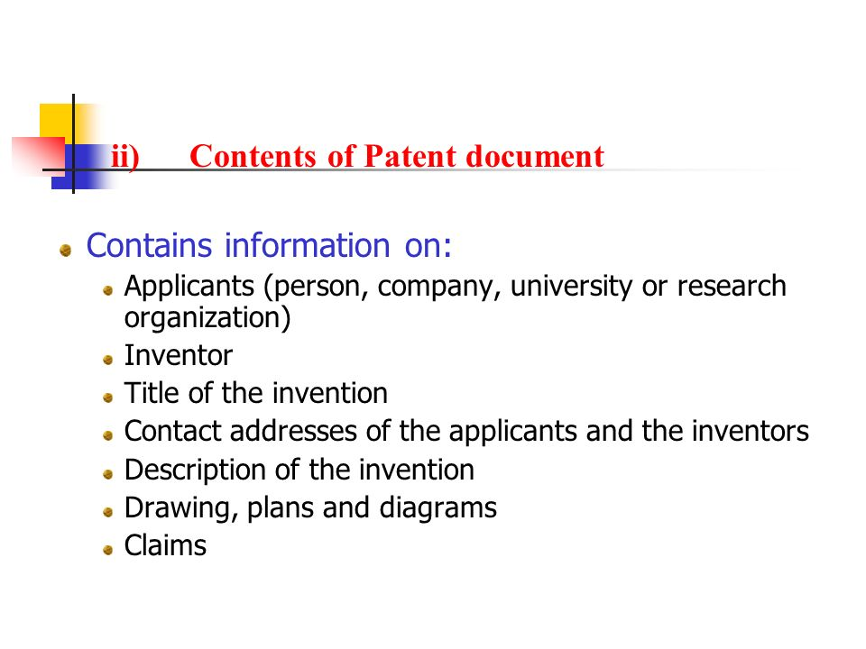 ii) Contents of Patent document