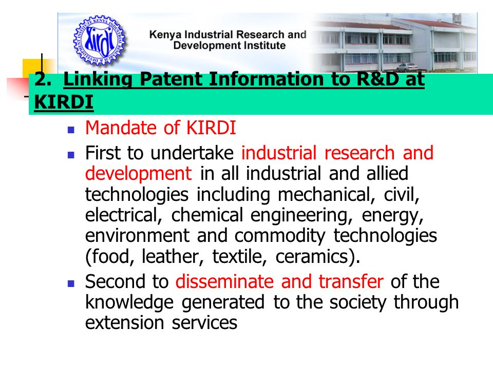 2. Linking Patent Information to R&D at KIRDI