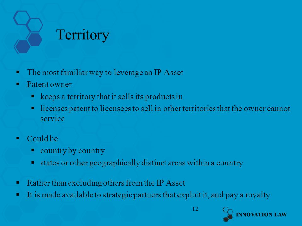 Territory The most familiar way to leverage an IP Asset Patent owner