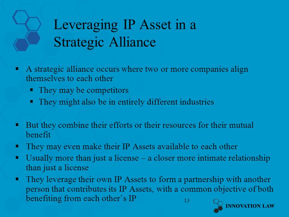 Leveraging IP Asset in a Strategic Alliance