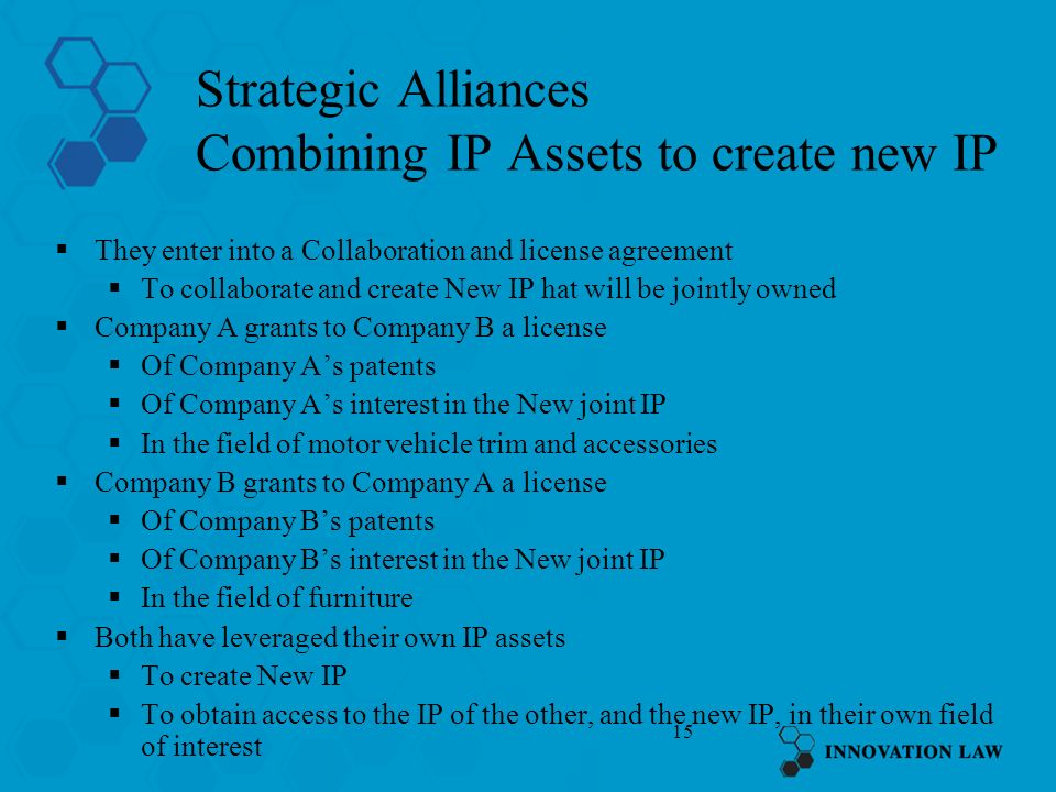 Strategic Alliances Combining IP Assets to create new IP