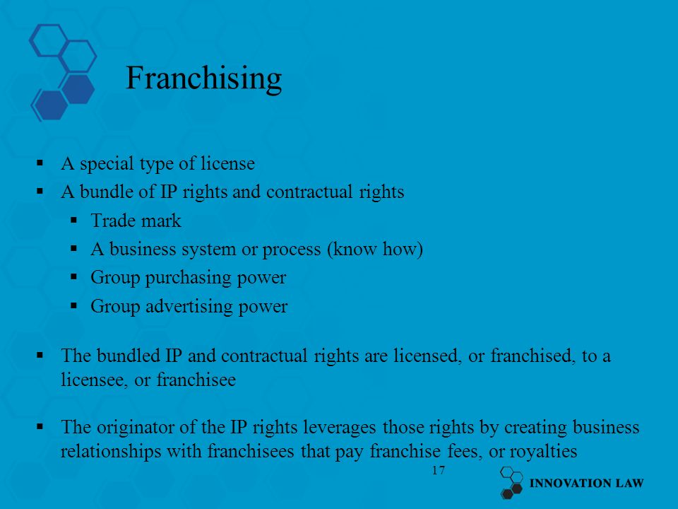 Franchising A special type of license