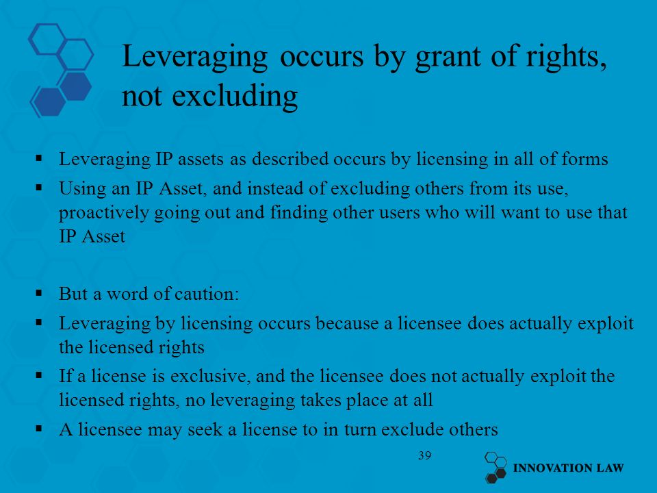 Leveraging occurs by grant of rights, not excluding