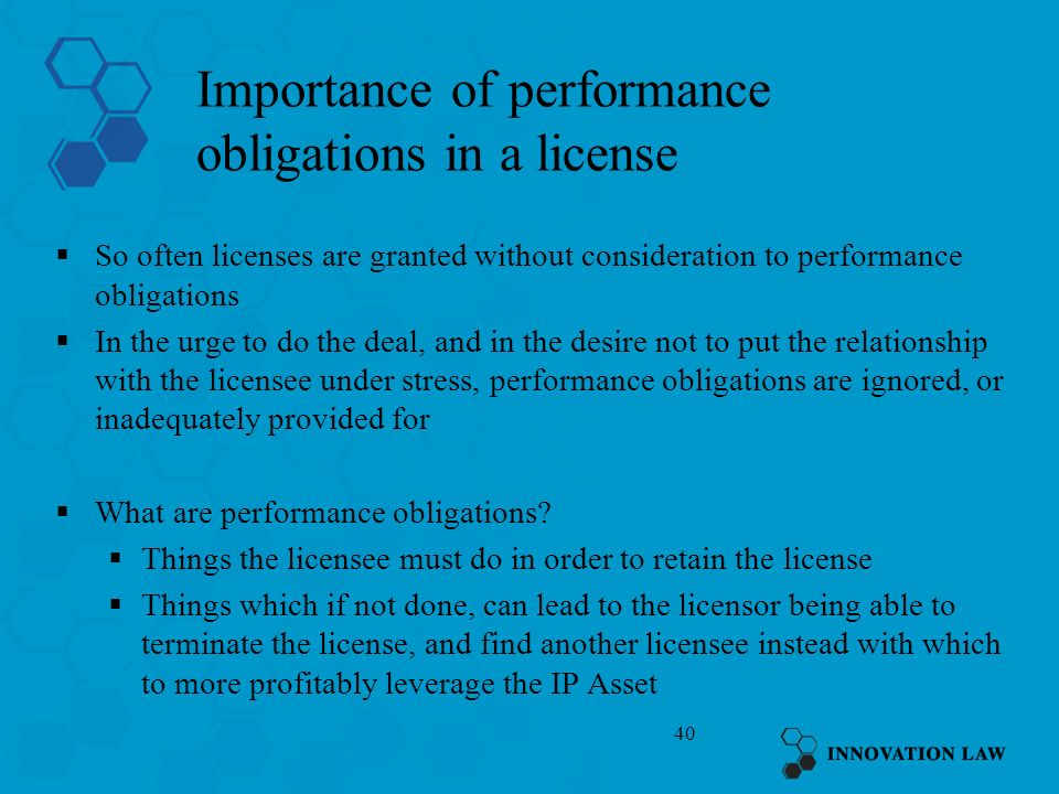 Importance of performance obligations in a license