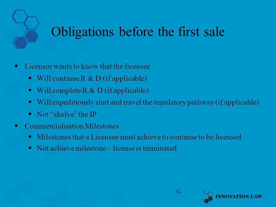 Obligations before the first sale