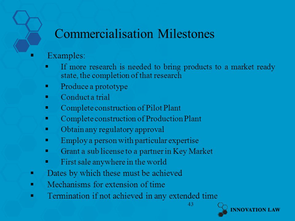 Commercialisation Milestones