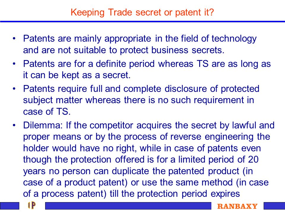 Keeping Trade secret or patent it