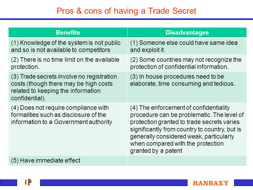Pros & cons of having a Trade Secret