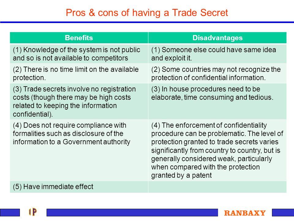Pros & cons of having a Trade Secret