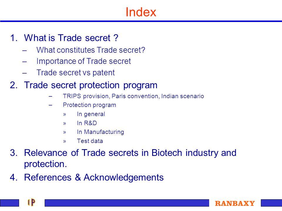 Index What is Trade secret Trade secret protection program