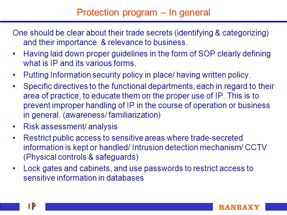 Protection program – In general