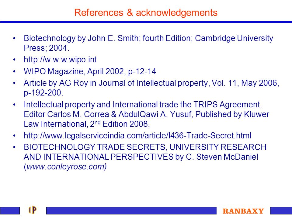References & acknowledgements