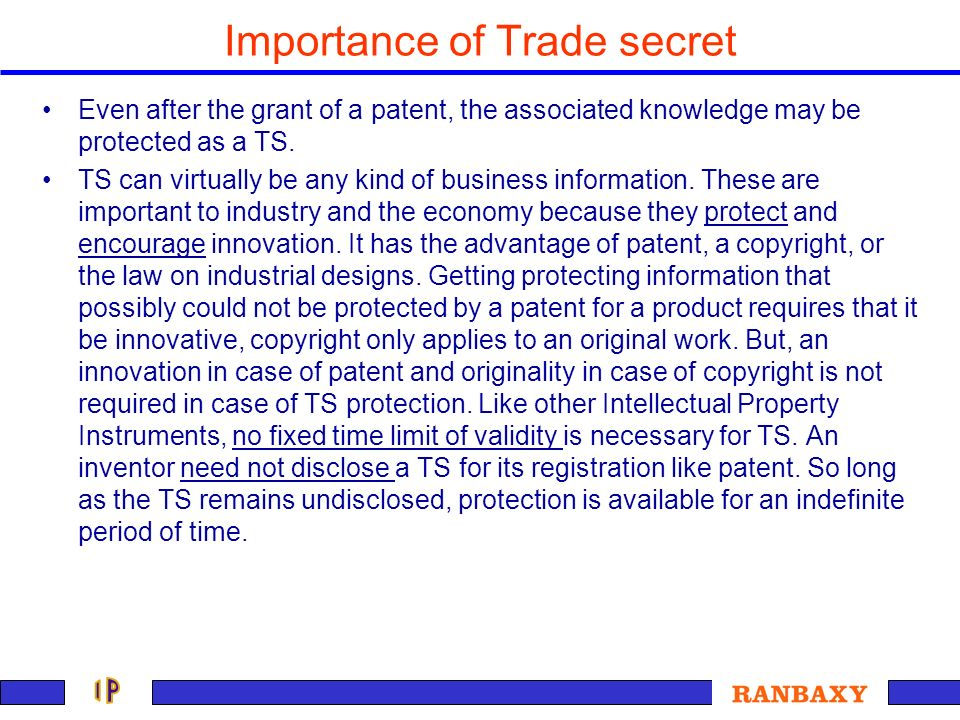 Importance of Trade secret