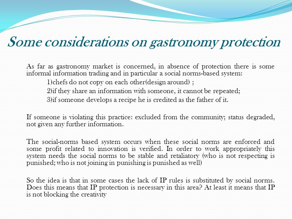 Some considerations on gastronomy protection