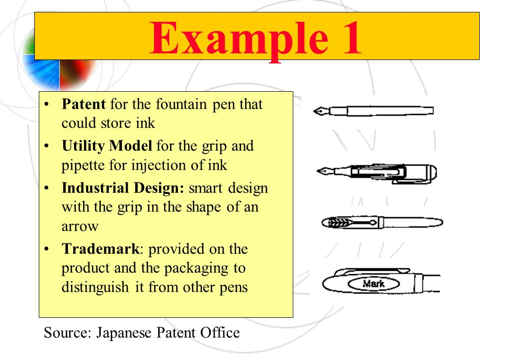 Example 1 Patent for the fountain pen that could store ink