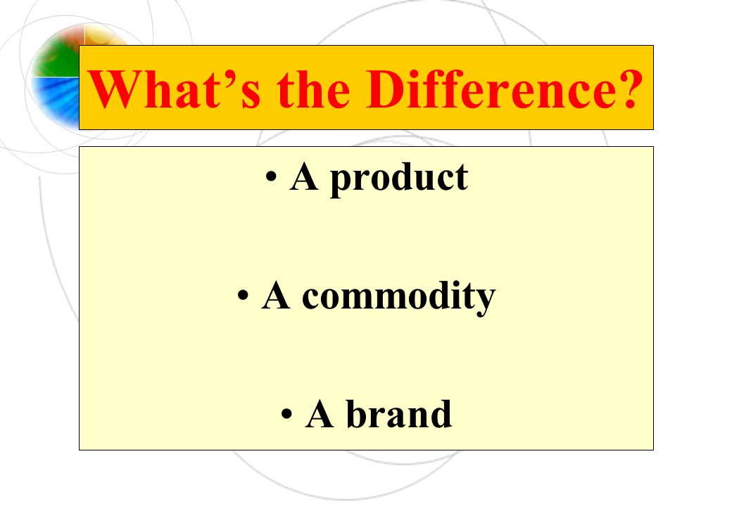 What's the Difference A product A commodity A brand
