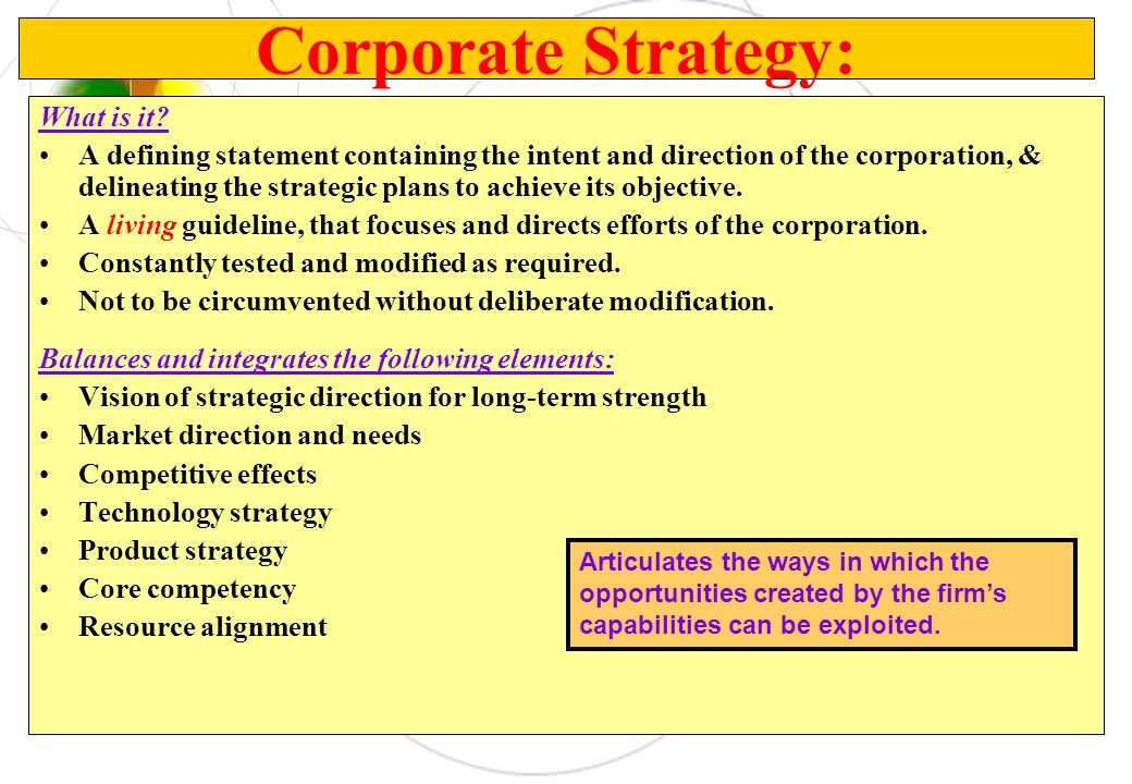 Corporate Strategy: What is it