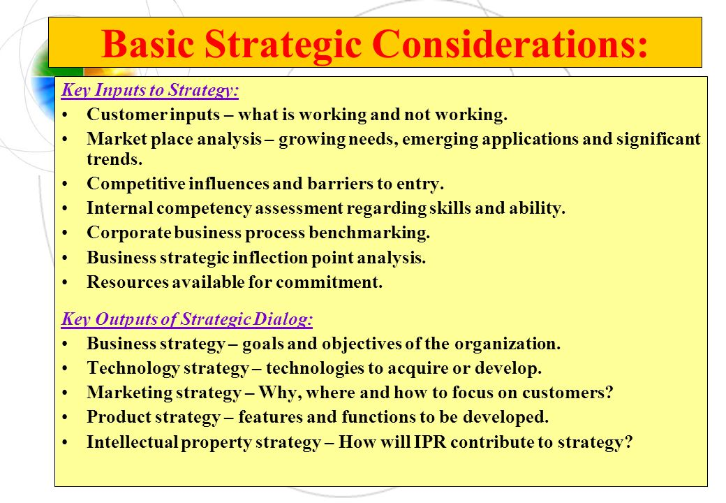 Basic Strategic Considerations: