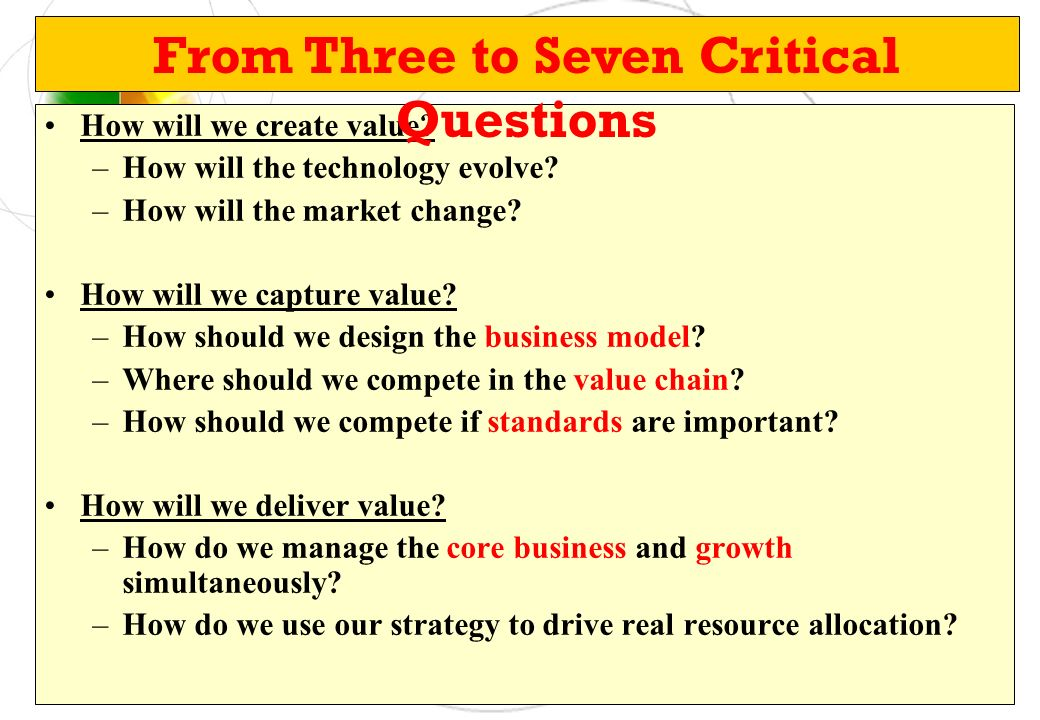 From Three to Seven Critical Questions