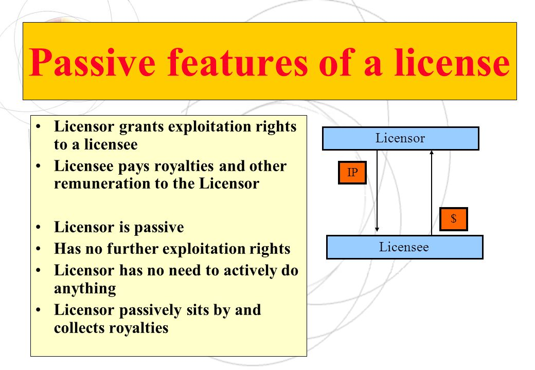 Passive features of a license