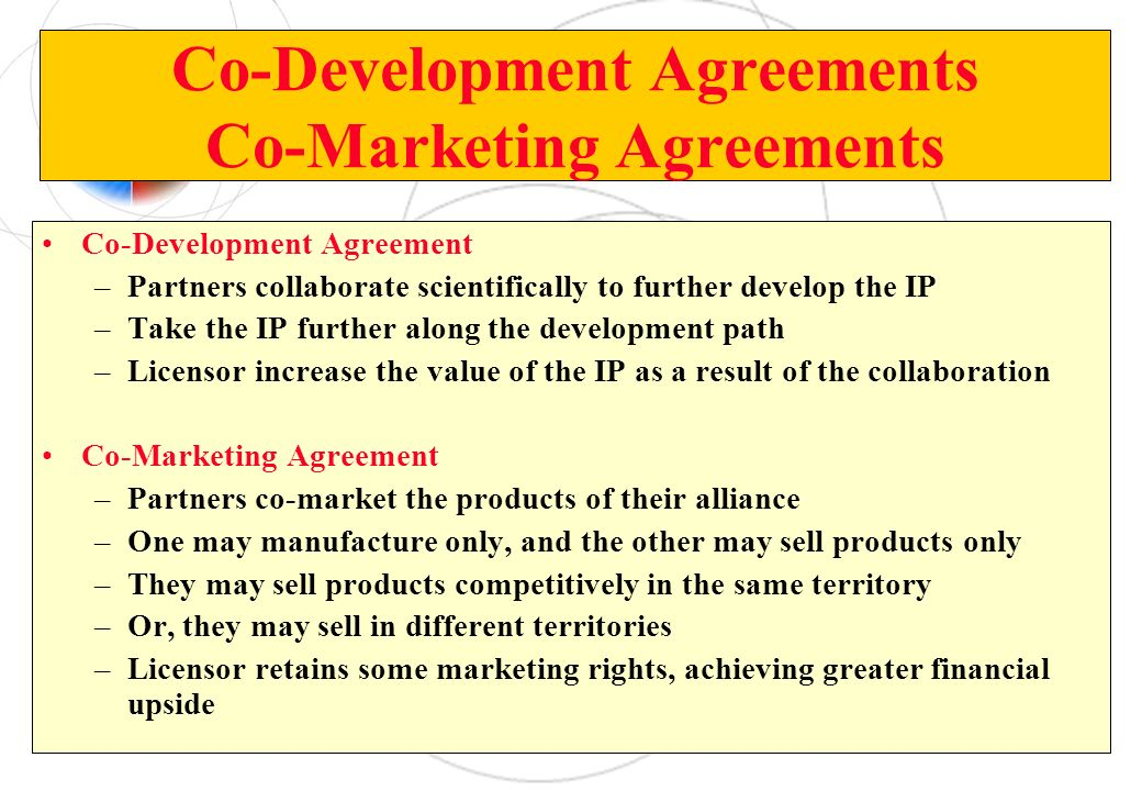 Co-Development Agreements Co-Marketing Agreements