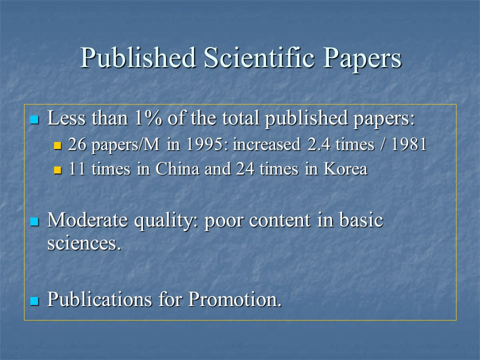 Published Scientific Papers