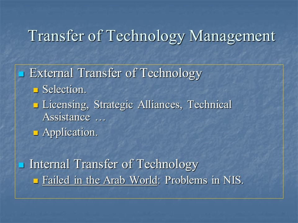 Transfer of Technology Management