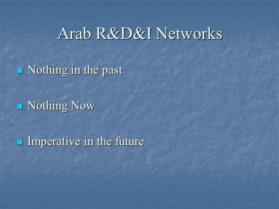 Arab R&D&I Networks Nothing in the past Nothing Now