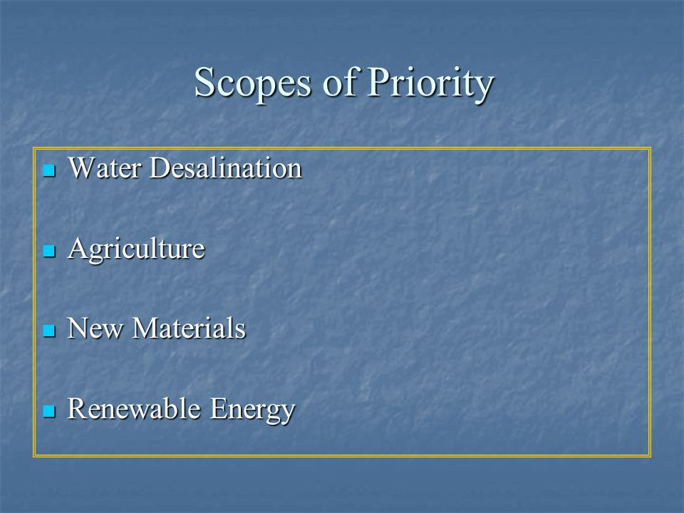 Scopes of Priority Water Desalination Agriculture New Materials