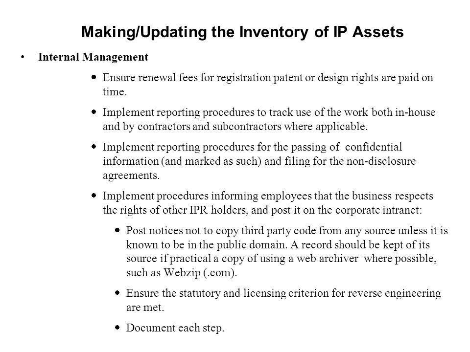 Making/Updating the Inventory of IP Assets