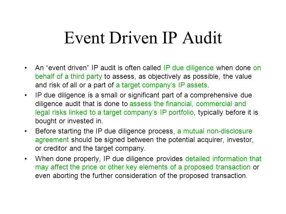 Event Driven IP Audit