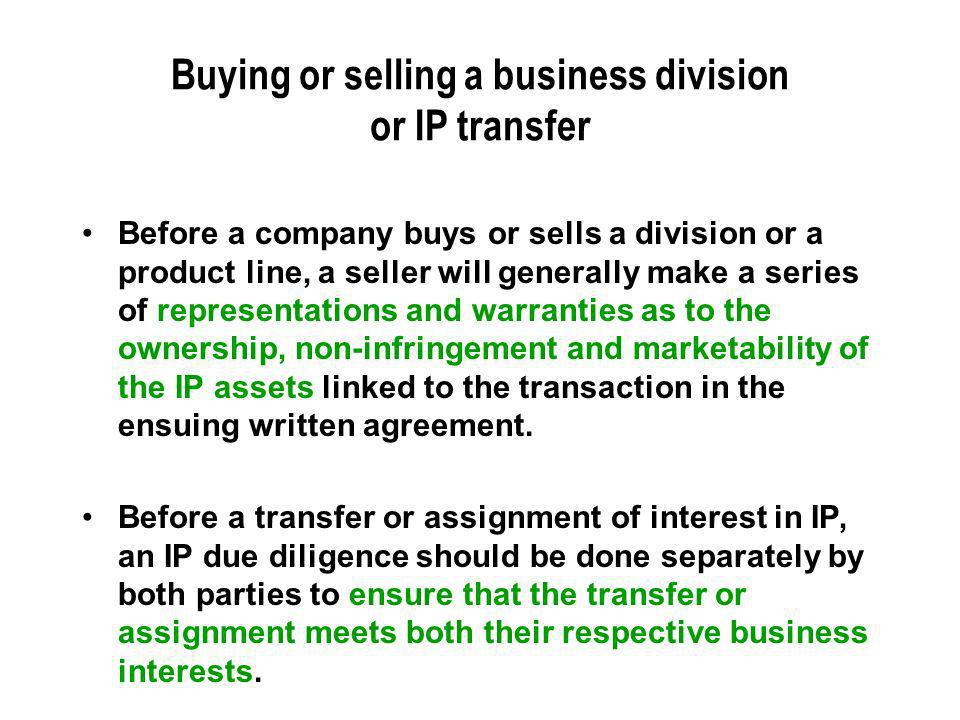 Buying or selling a business division or IP transfer