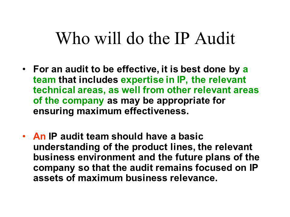 Who will do the IP Audit