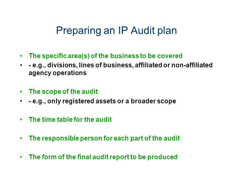 Preparing an IP Audit plan