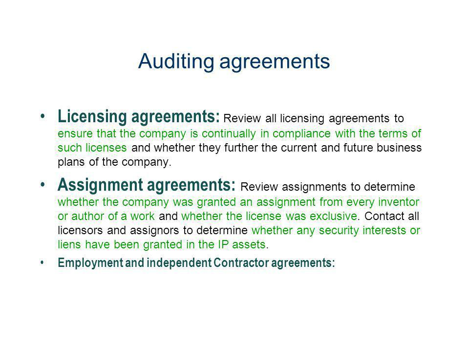Auditing agreements