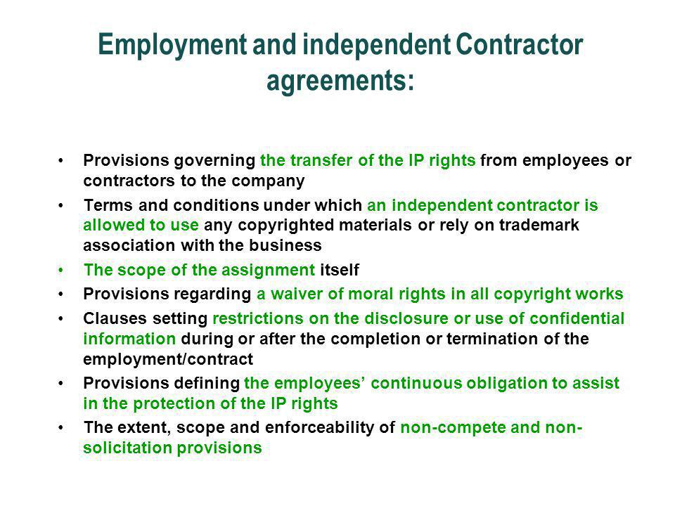 Employment and independent Contractor agreements: