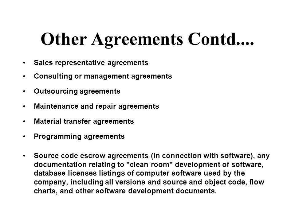 Other Agreements Contd....