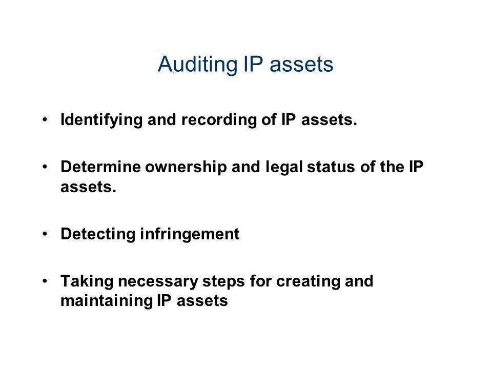 Auditing IP assets Identifying and recording of IP assets.