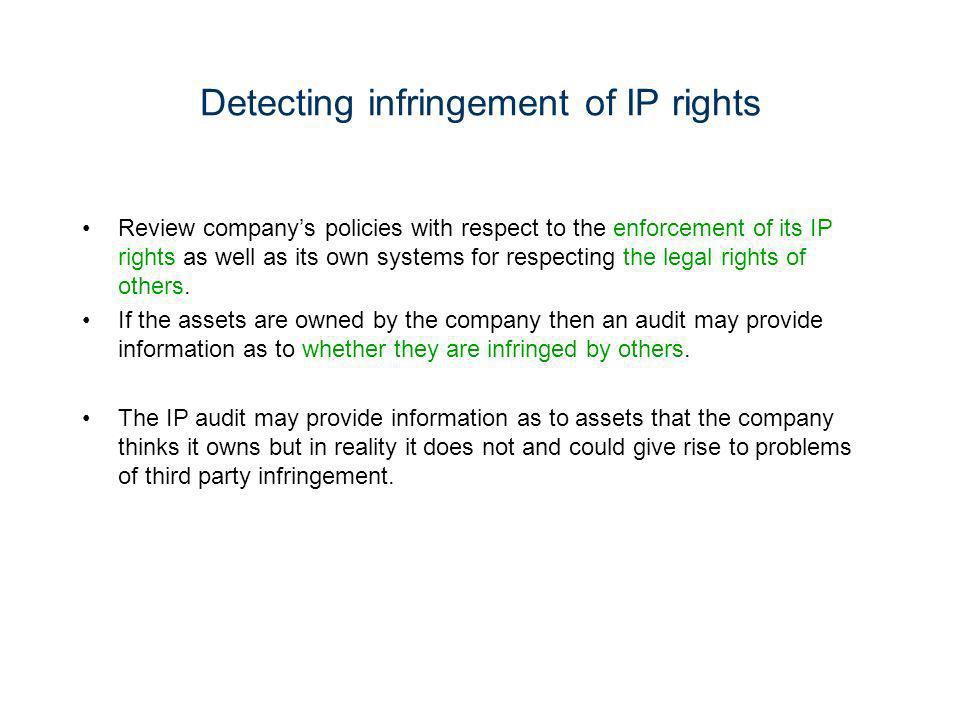 Detecting infringement of IP rights