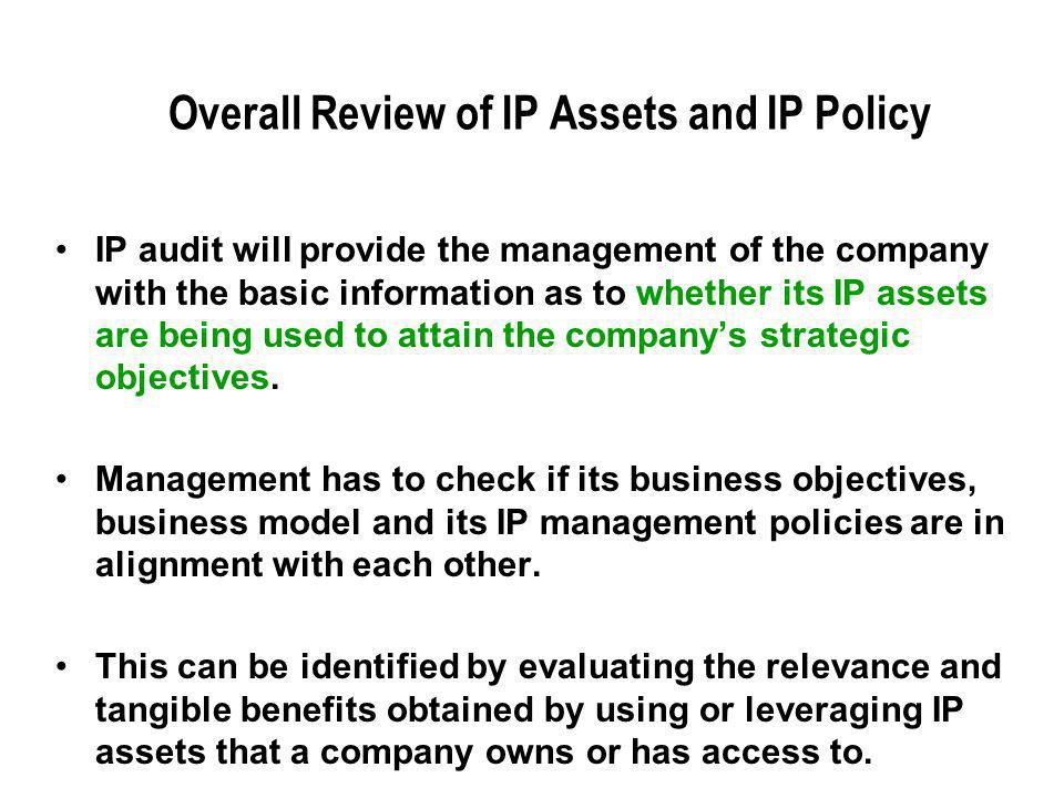 Overall Review of IP Assets and IP Policy